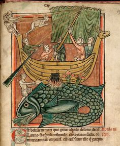 """The exhibition also features an amazing print showing several men measuring a beached whale on a Dutch beach, another illustration of a great beast that was now the object of scientific scrutiny rather than passive wonder.  Contrast this whale with illustrations from two thirteenth-century bestiaries in the collection of the British Library and you can easily see the difference of attitude.  The two medieval whales are depicted in standard fashion as """" islands"""", based on the legend of Saint…"""