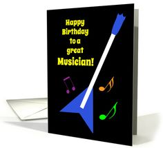 Musician Birthday Flying V Guitar and Colourful Music Notes card