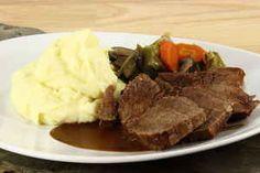 #Grydesteg med grøntsager Pot Roast, Steak, Beef, Ethnic Recipes, Mushroom, Carne Asada, Meat, Recipes