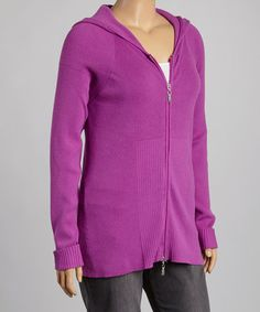 Finely knit cotton-stretch material comfortably traces curves, giving this casual hoodie a feminine fit. Ribbed cuffs and panels offer added structure. Size long from high point of shoulder to cotton / nylonMachine washImported Colorful Clothes, Colourful Outfits, Daughters, To My Daughter, Hippy Fashion, Plus Size Cardigans, My Mom, Hooded Jacket, That Look
