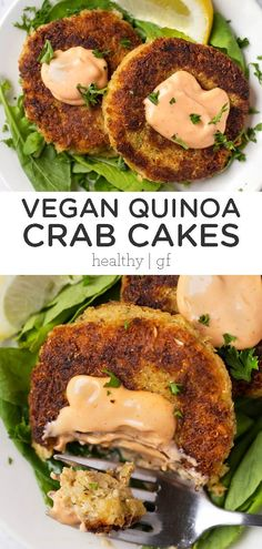A lightened up version of classic crab cakes, these VEGAN Qu.- A lightened up version of classic crab cakes, these VEGAN Quinoa Crab Cakes make a great healthy dinner or side dish idea! This easy, homemade recipe is gluten-free and vegetarian. The BEST! Healthy Juice Recipes, Vegan Dinner Recipes, Whole Food Recipes, Cake Recipes, Healthy Food, Beef Recipes, Chicken Recipes, Vegan Lunch Healthy, Healthy Vegetarian Recipes