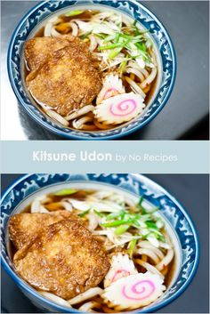 "Udon (Kitsune Udon and Dashi) recipe - Kitsune udon literally translates to ""fox udon"" and while I'm not certain why it's called this, I can assure you that fox has never been an ingredient in this dish! The fox has a deep rooted history in Japanese folk-lore,  being characterized as sneaky and deceitful. #japanese #traditional"