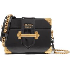 Prada Cahier Box patent-leather shoulder bag ($2,960) ❤ liked on Polyvore featuring bags, handbags, shoulder bags, black, evening handbags, chain strap purse, patent handbags, prada shoulder bag and shoulder bag purse