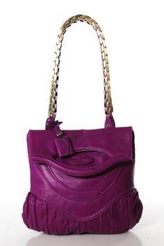 Zac Posen Purple Leather Gold Tone Link Chain Strap Fold Over Shoulder Handbag #ZacPosen #ShoulderBag