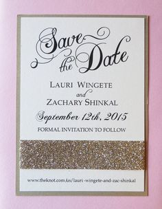 Gold and Pink Save the Date with Glitter Ribbon by CZinvitations
