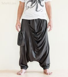 Drape Curtain Long Baggy Unisex Harem Pants with Floating Bag (Charcoal Gray)