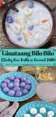Bilo bilo (glutinous rice balls in coconut milk) Ginataan or Bilo Bilo is a hearty Filipino treat with thick sweet coconut milk and lots of banana, sweet potatoes, jackfruit and tapioca pearls, that can be eaten for breakfast, snack or even as a dessert. Pinoy Dessert, Filipino Desserts, Filipino Recipes, Filipino Food, Cuban Recipes, Philipinische Desserts, Asian Desserts, Dessert Recipes, Coconut Milk Desserts