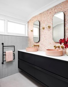 pink bathroom Aside from serving as a mount for your sink and offering valuable storage and counter space, an excellent vanity is the focal point of most bathrooms. Pink Bathroom Decor, Bathroom Trends, Bathroom Interior Design, Bathroom Renovations, Bathroom Ideas, Bathroom Vanities, Bathroom Organization, Bathroom Storage, Blush Bathroom