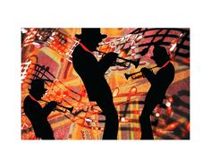 "Trumpet Players Jazz Art - Giclee Print - 8 x 10-inch - FREE SHIPPING. Trumpet players music instrument digital artwork depicting 3 musicians in silhouette over a colorful music note background. Entitled, ""Defining Jazz"". Inspired by my life, singing solos, in groups, choirs and bands. What fun! Print type: Giclee Paper size: 8.5 x 11-inches Image size: 8 x 10-inches Paper type: HP Premium Soft Gloss LARGER PRINTS on Picture Rag Paper or on CANVAS are available through custom order…"
