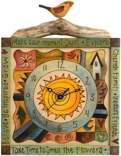 Wall Clock 207 by Sticks: Constructed, drawn, stained, painted & finished 100% by hand / Sticks Furniture @ http://www.artcraftonline.com/sticks-wall-clock-207-6367