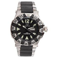 Reactor Gamma Sports Watch for Men - Black Dial/2-Tone Stainless Bracelet