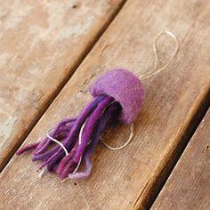 Purple Jellyfish Needle Felted Ornament