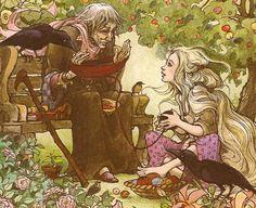 """Rapunzel"" today on Myth and Moor. The Rapunzel art above is by Arthur Rackham, Ernst Liebermann, and Trina Schart Hyman."