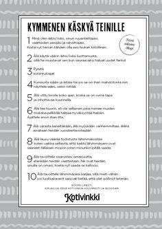 Lukijoiden toiveesta: 10 käskyä teinille | Kotivinkki