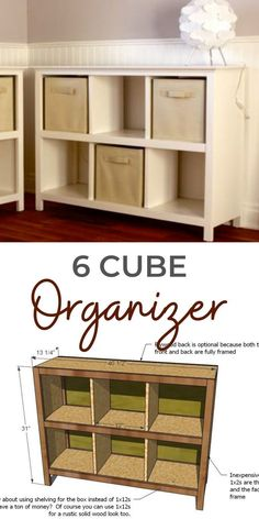 Build your own 6 cube organizer bookcase designed to fit standard fabric cubes! The cubby design helps with organization and keeping items separated. We love the legs - so it's more like a real piece of furniture. Solid wood construction is easy to paint or stain. Free step by step plans from Ana-White.com. #anawhite #anawhiteplans #organization #diy #storage #cubeorganizer Diy Furniture Plans Wood Projects, Woodworking Projects, Diy Projects, Woodworking Plans, Project Ideas, 6 Cube Organizer, Bookcase Organization, Wood Construction, Storage Baskets