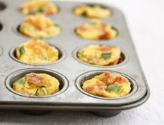 Mini Frittatas - make your own combos with ham or bacon, cheeses & veggies~  Guests arriving for next week? Make up a batch or two of these little frittatas for a quick and low carb breakfast!
