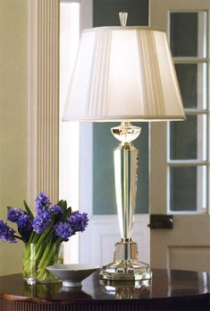 Solid crystal lamps - solid crystal table lamp with silver trim