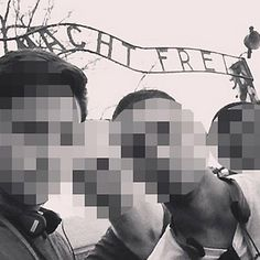 """Four teen-agers huddle together, striking a severe pose like a boy band. In the background, just overhead, a sign looms: """"Arbeit Macht Frei."""" A girl …"""