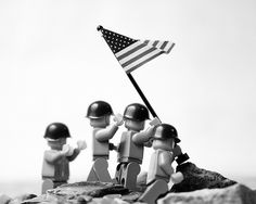 """Raising the flag on Iwo Jima  A Lego recreation of Joe Rosenthal's 1945 photograph """"Raising the flag on Iwo Jima"""". One of the most published photographs in history.  Pinned from Balakov on Flickr"""