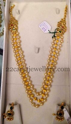 Beads Chain with Emerald Earrings | Jewellery Designs