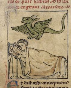 The conception of Alexander, with Nectanebus in the form of a dragon, flying over Queen Olympias and King Philip in bed, Roman d'Alexandre en prose, France, N. or Netherlands, S., 1st quarter of the 14th century, Royal MS 20 A V, f. 6r
