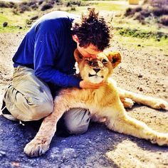 Me with a lioness. She purred like a kitty.