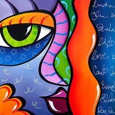 Daylight - Original Large Abstract Contemporary Modern POP Art Painting by Fidostudio Pop Art Face, Pop Art Collage, Abstract Face Art, Modern Pop Art, Chicago Artists, Arte Pop, Art Portfolio, Art Pages, Les Oeuvres