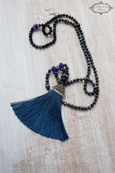 BLACK FRIDAY SALE - Silk Tassel Necklace, Boho Chic Necklace, Blue Beaded Bohemian Necklace, Statement Necklace, Christmas Gift, A Unique , beautiful, Night Blue Hand knotted long Tassel Necklace . Features antique rhinestones, metallic night blue opal crystal beads , black