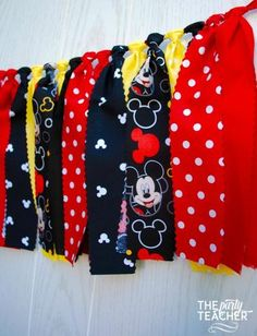 Mickey Mouse Fabric Tie Garland