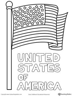 United States Flag coloring page DIY with Kids Pinterest