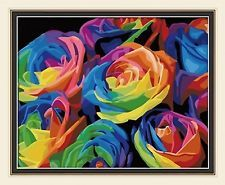 NEW Vintage Paint by Number Kit: Rainbow Rose  (50cm x 40cm) DIY & pre stretched