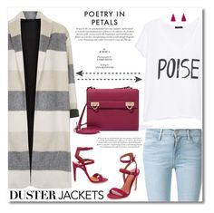 """So Cute : Duster Jackets"" by sophisanz ❤ liked on Polyvore featuring Topshop, Rebecca Minkoff, MANGO, Frame Denim, Salvatore Ferragamo, Maria Francesca Pepe, StreetStyle, purple, grey and dusterjackets"