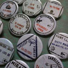 "Forgotten Realms passport stamp buttons 1.25"" / 32mm pinback button/badge Dungeons & Dragons"