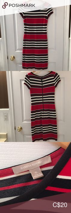 Banana Republic striped T-shirt dress Red, white, and black striped T-shirt dress from Banana Republic. This dress is super comfortable and stretchy. Striped T Shirt Dress, Banana Republic Dress, Dress Red, Black Stripes, Short Sleeve Dresses, Closet, Things To Sell, Style, Fashion
