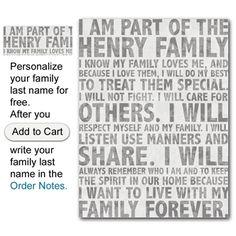 Family Motto - I love this!!! Great way to instill family unity.