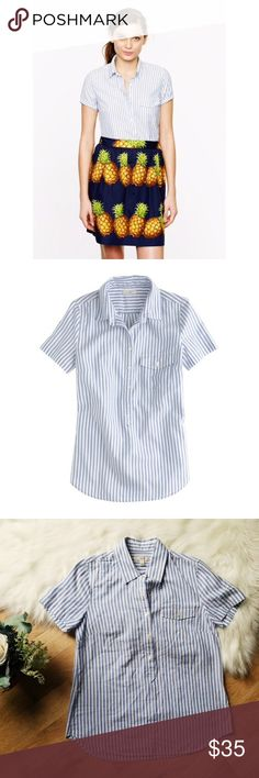 J. Crew Blue & White 1/2 Button Up Polo Work Shirt J. Crew Blue & White 1/2 Button Up Polo Work Shirt. Perfect Condition. Very clean.  Comfortable & cute! Great work blouse for warm weather!  Size 4! Measurements are in the pictures.  Happy to answer any questions!  Thanks for looking!   OFFERS are welcome!  ** 10% off Bundles of 3+ ** Ships within 24 hours!  Smoke free home. No trades or Paypal. J. Crew Tops Button Down Shirts