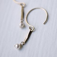 Gold Twisted Bar & Baby Pearl Dangle Earrings - Delicate Simple Modern Jewelry - CALM by 5050 STUDIO via Etsy