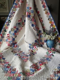 """Densely Quilted BEAUTIFUL Vintage 30s Boston Commons QUILT 79x76"""""""