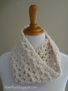 Crochet this Lightning Fast Crocheted Cowl using the v-stitch and any color wool yarn of your choice. All you need is one skein to complete this free crochet scarf pattern. Because it is so quick to crochet, this makes a great last-minute gift idea.