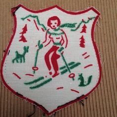 Vintage Ski Patch Alpine Downhill Cross Country Woman Skier Shield Squirrel Deer