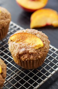 Healthy, whole wheat, peach muffins are perfect for breakfast! Quinoa and Greek yogurt add extra protein to the muffins to keep you full longer! Quinoa Muffins, Zucchini Muffins, Peach Muffins, Baking Muffins, Healthy Muffins, Healthy Protein, Lemon Zucchini, Muffin Recipes, Baking Recipes