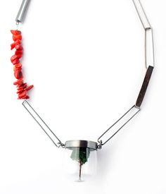 Simeon Shomov Necklace: Ecology Silver 950, glass, coral Length: 55cm © By the author. Read Klimt02.net Copyright.