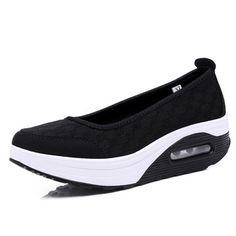 Plaid Check Mesh Breathable Platform Slip On Casual Rocker Sole Shoes