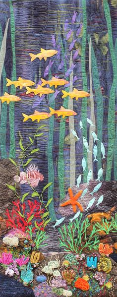 """Under the Sea, 015 W 40cm(16"""") x H 100cm(39"""")  Cotton, organza, silk and wool fabric. machine thread-painting, Hand and machine embroidery and machine quilted.  2nd place in The World of Texture, Berry NSW 2015"""