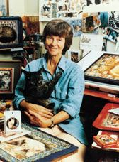 Lesley Anne Ivory, a talented cat artist and author.