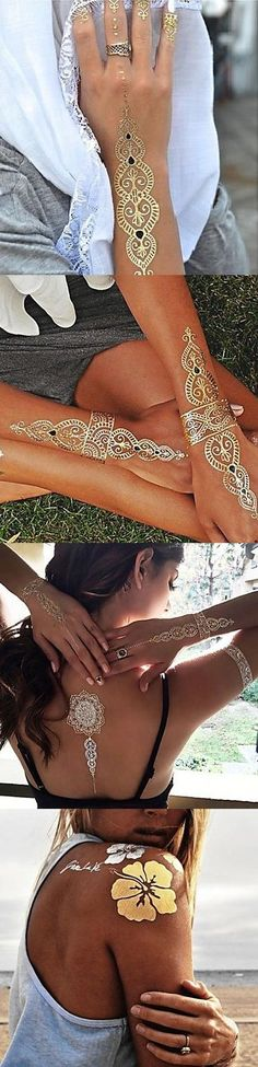 Metallic temporary tattoos are the trend already embraced by the likes of Alessandra Ambrosio, Beyonce, Aerin Lauder and others. Get your own one!