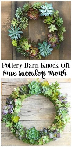 Pottery Barn Knock Off Faux Succulent Wreath
