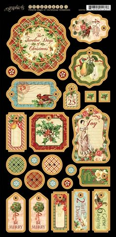 Graphic 45 - 12 Days of Christmas Collection - Chipboard Die Cuts 1