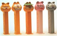 Garfield Series I have visor version Garfield Cartoon, Candy Dispenser, Head Shapes, Pin Up, Christmas Elf, Childhood Memories, Peppermint, Toys, Slime