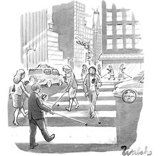 """Someone on Facebook captioned this, """"City of the Willfully Blind."""" (New Yorker cartoon). Are you guilty of spending too much time looking down at your mobile device when walking? -csh"""